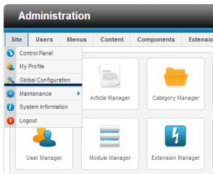 global configuration in Joomla site