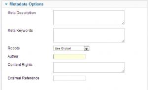 meta data options in articles