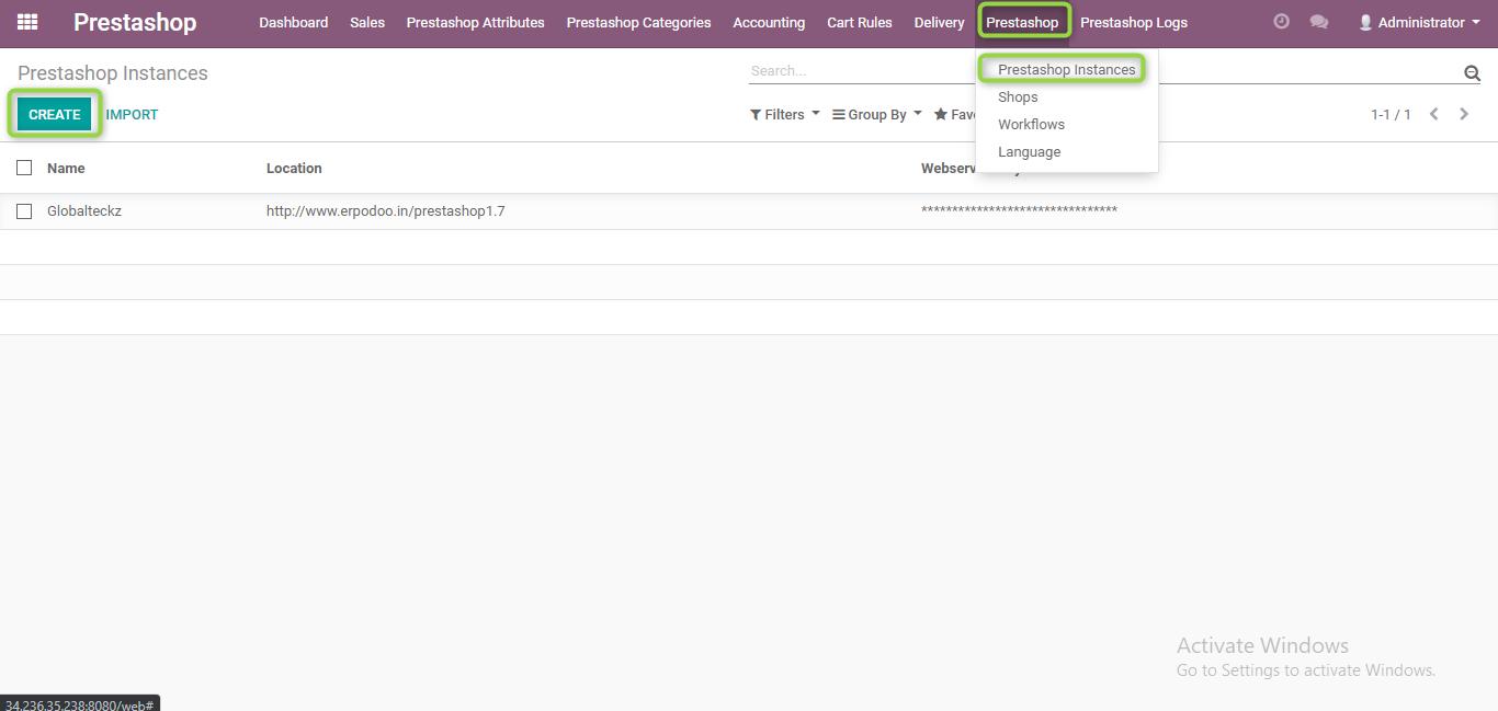 creating your prestashop instance in Odoo ERP software