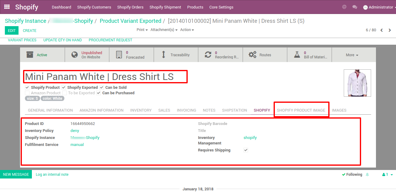 performing shopify functions from odoo for any products