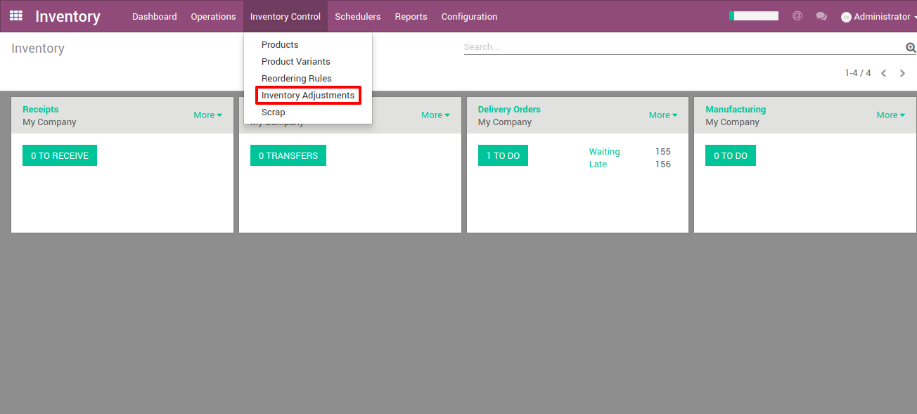 shopify inventory adjustments in Odoo