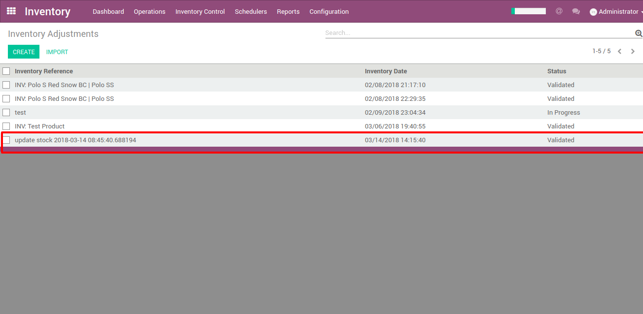inventory adjustments to shopify from odoo