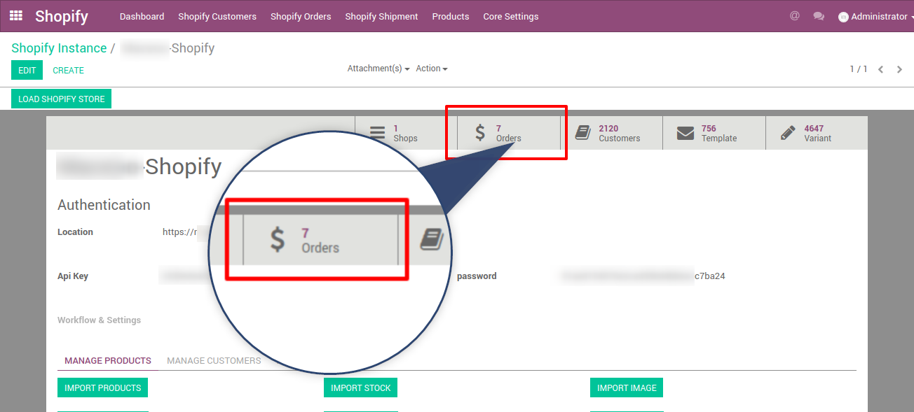 number of shopify orders imported in Odoo erp