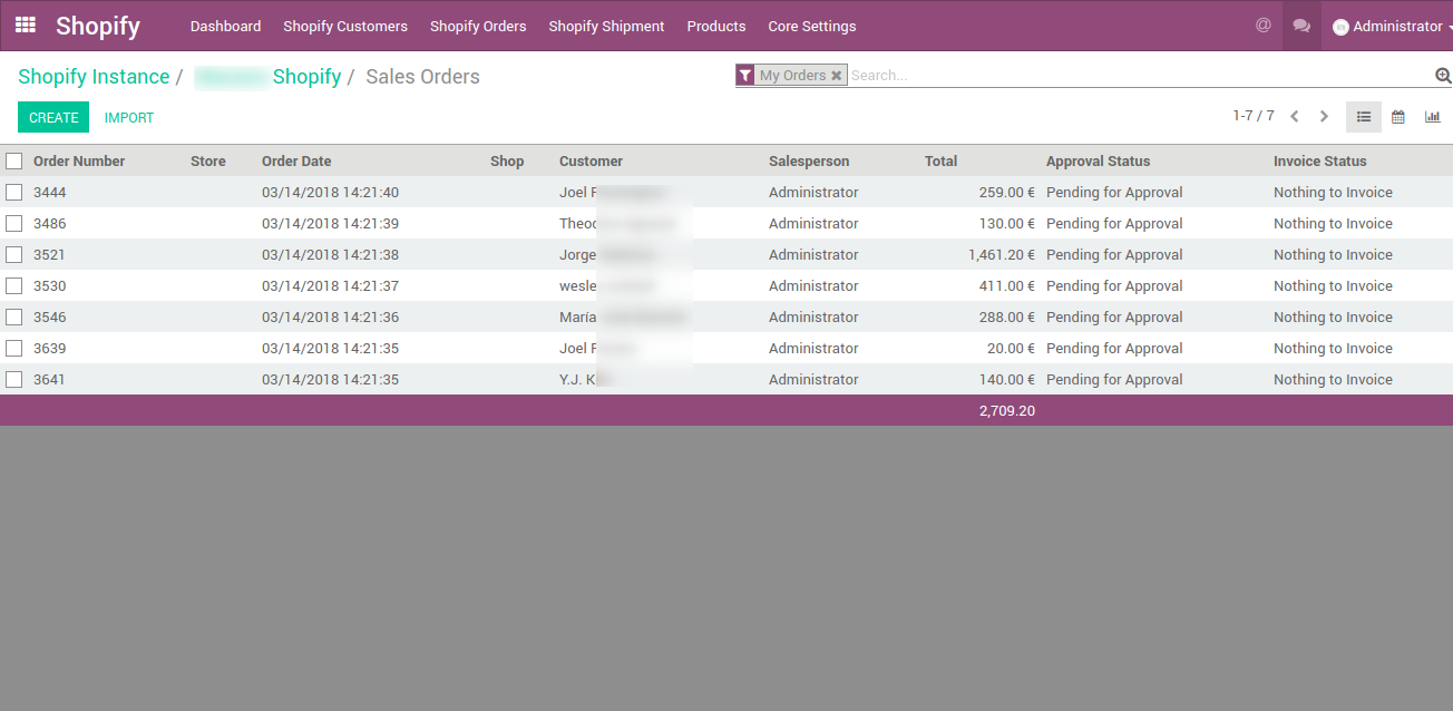 list of shopify orders in odoo