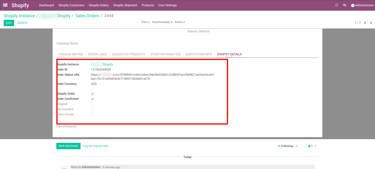 complete shopify order details in Odoo