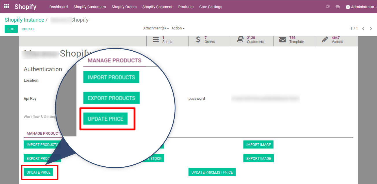 update price in odoo for your shopify stores