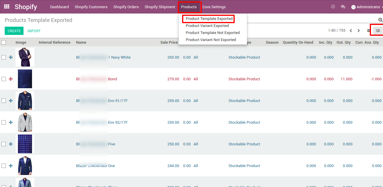 product template update in Odoo