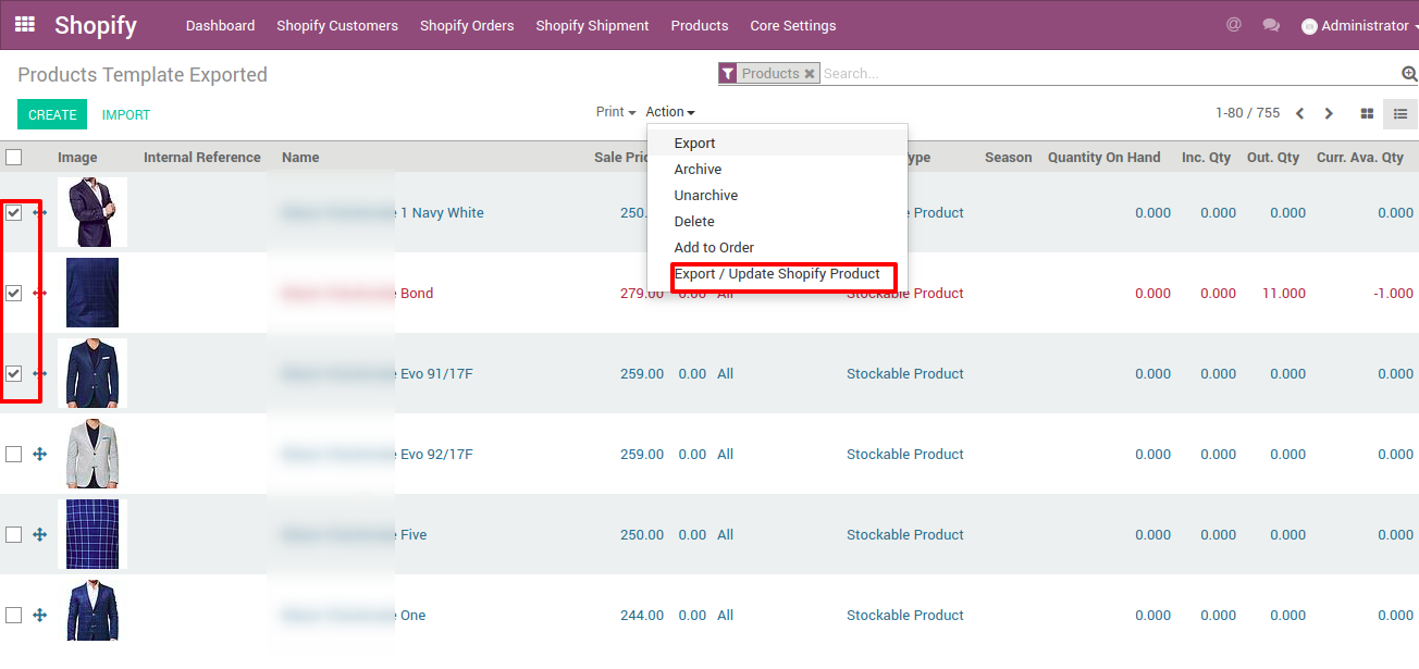 export and update shopify products from odoo