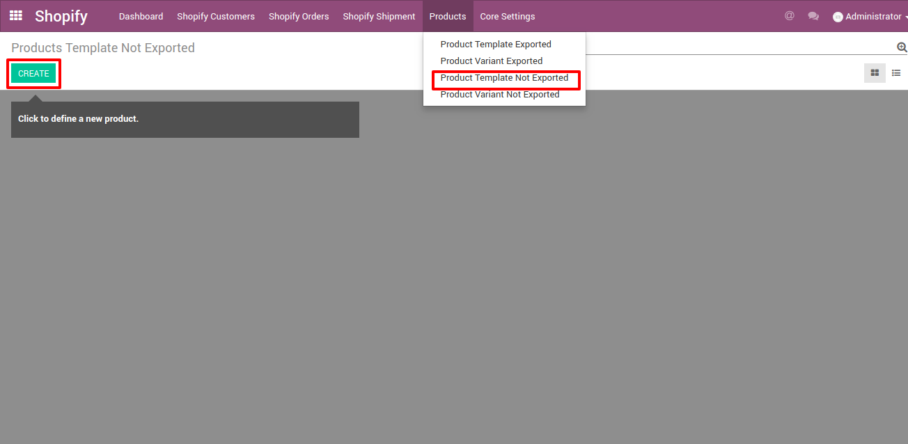 create product template in odoo