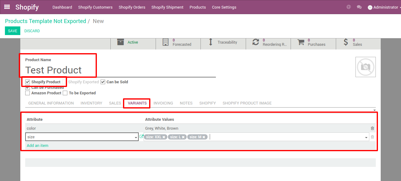 adding variant for your new products which will be exported from odoo to shopify