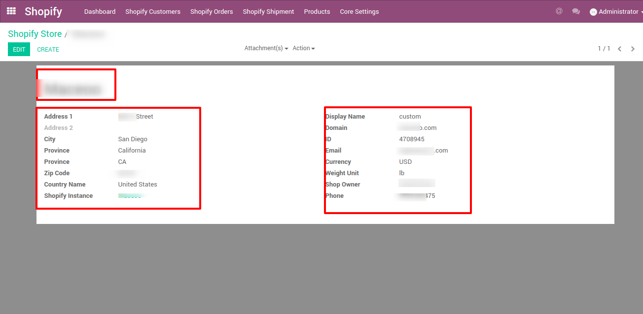 saving shopify shops in odoo erp software