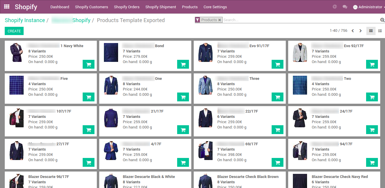 Products template in odoo from shopify