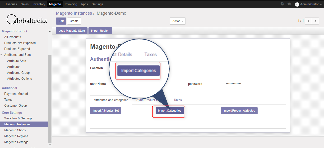 import categories from magento 2 to odoo erp