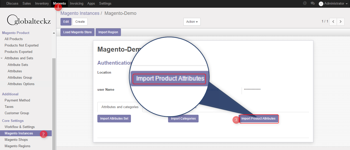 product attributes import from magento2 to odoo bridge