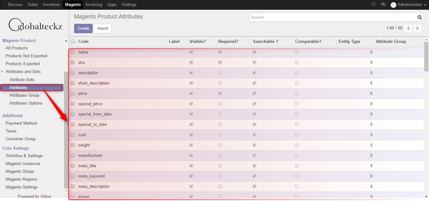 odoo attributes import best connector