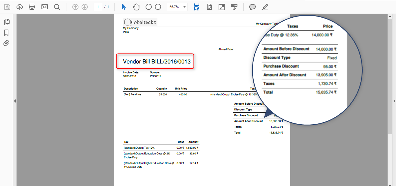 purchase invoice bill in odoo
