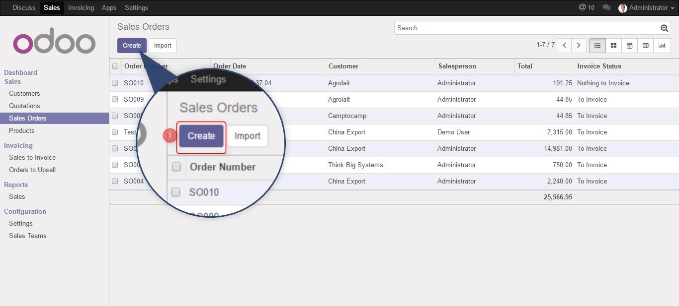 sales order in odoo