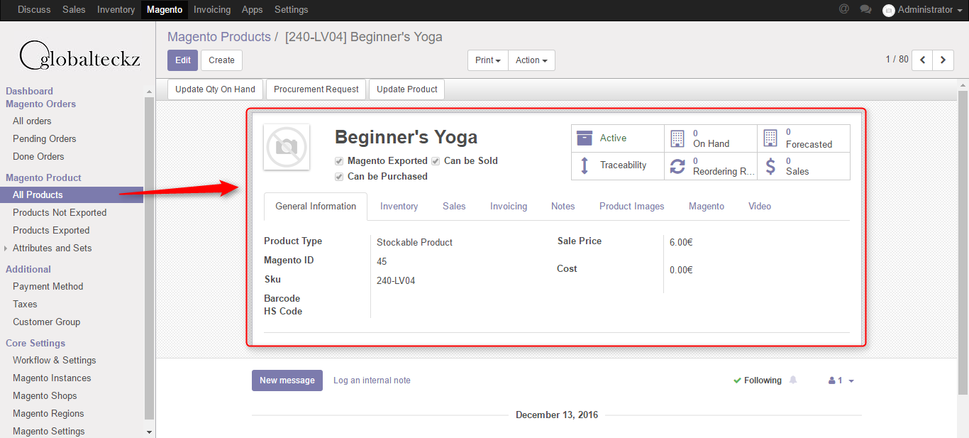magento store products in odoo