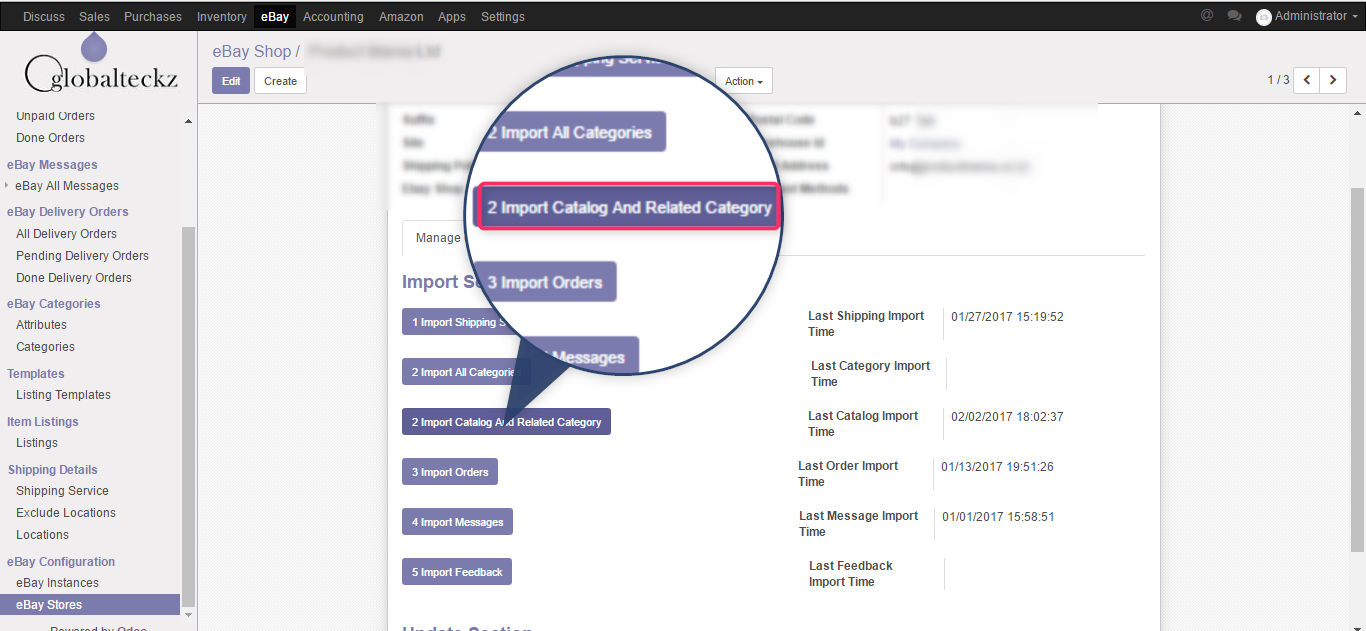 import all catalog and related categories