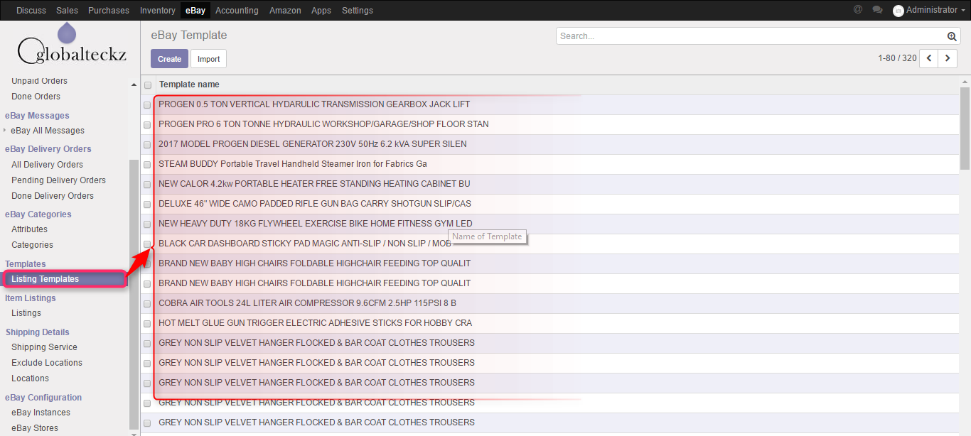 import ebay templates