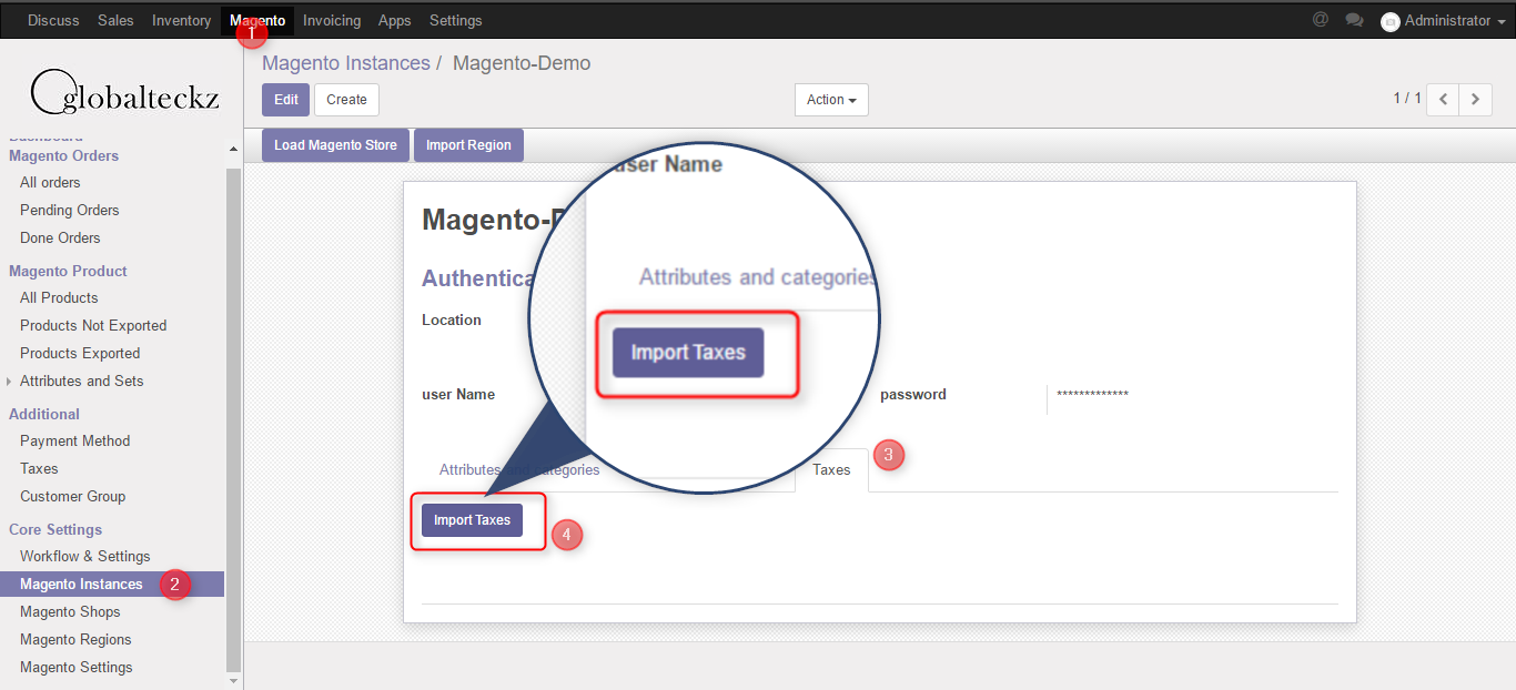 import taxes from magento to odoo erp software extension