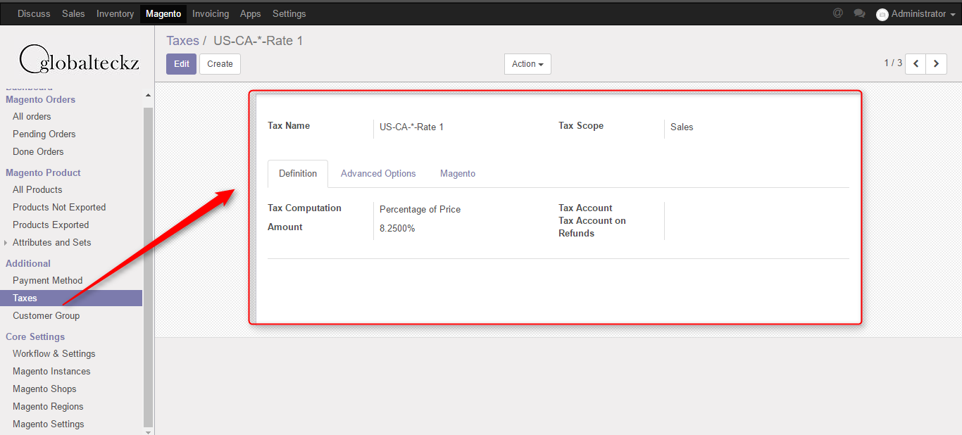 taxes in odoo from magento 2 imported
