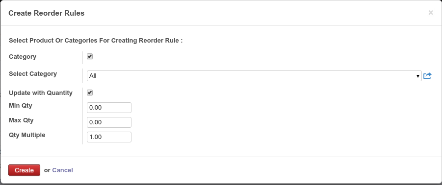 Create reordering rule on a product category
