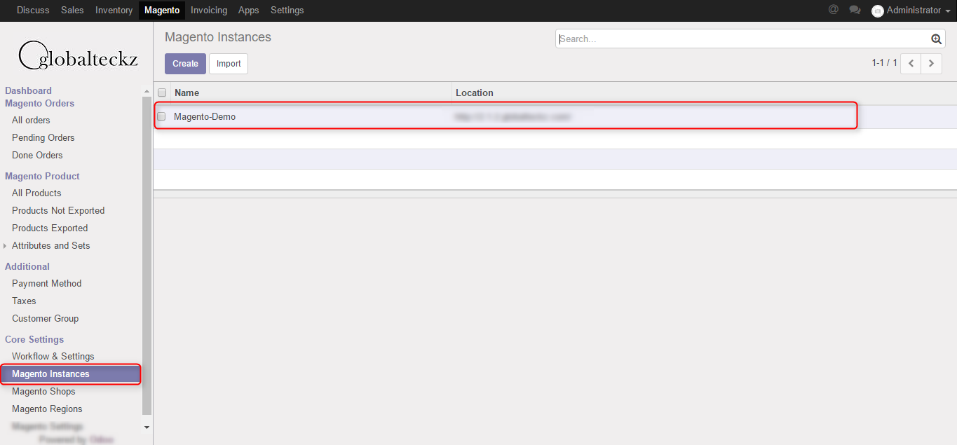 magento 2 odoo connector instance created