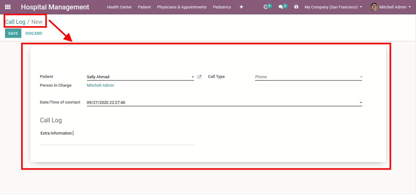 creating new call logs for patient