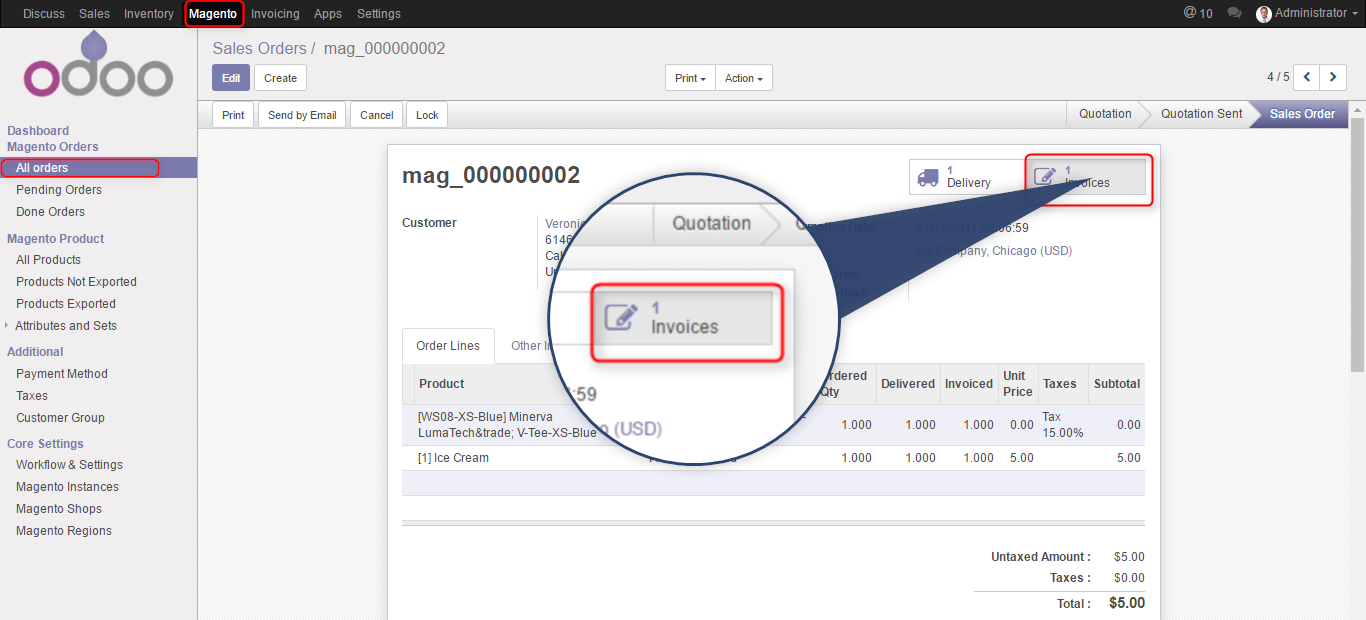 invoices from magento 2 to odoo erp software