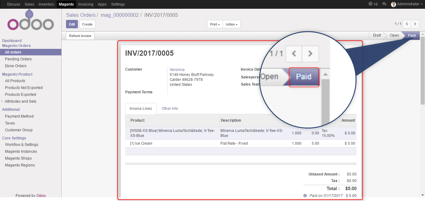 list of invoice in paid open stages