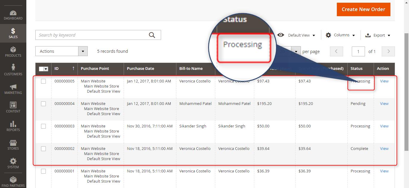 status of orders processing in odoo