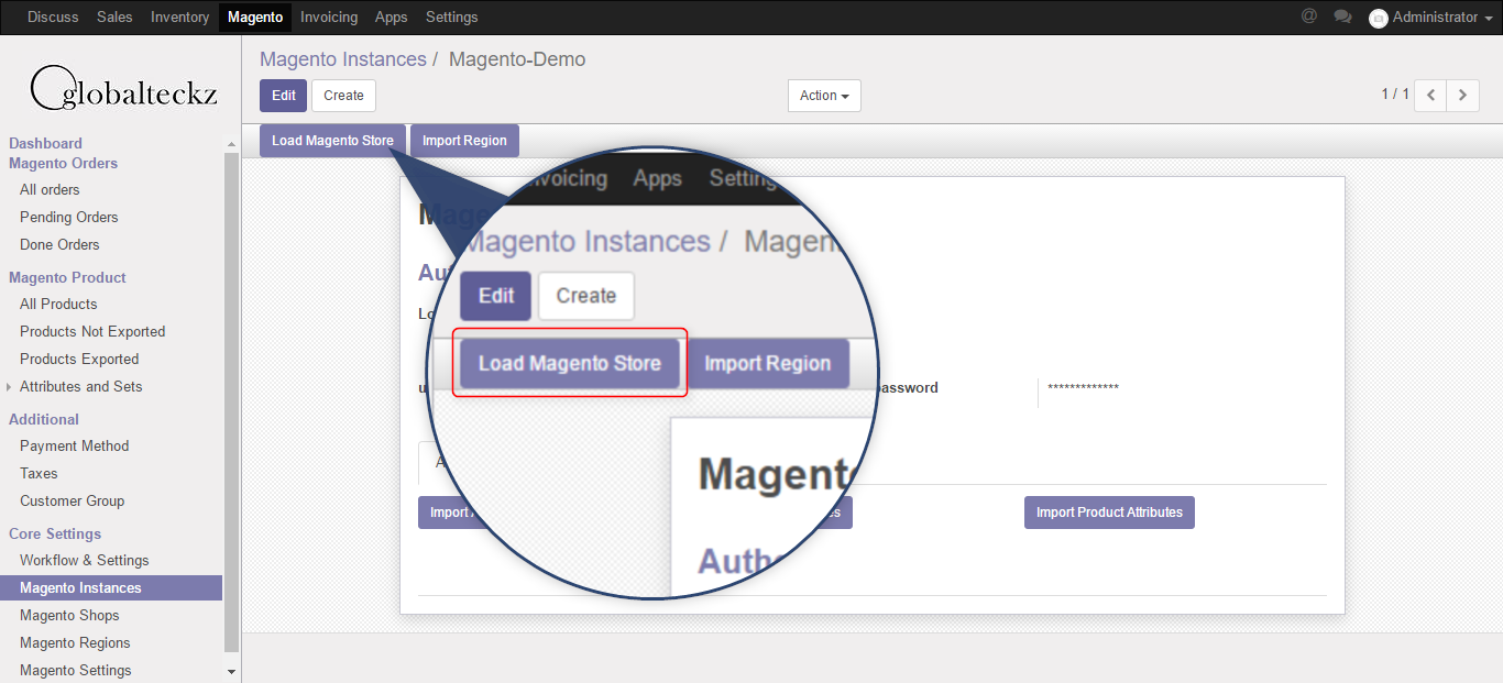 loading magento 2 stores in odoo 10 erp