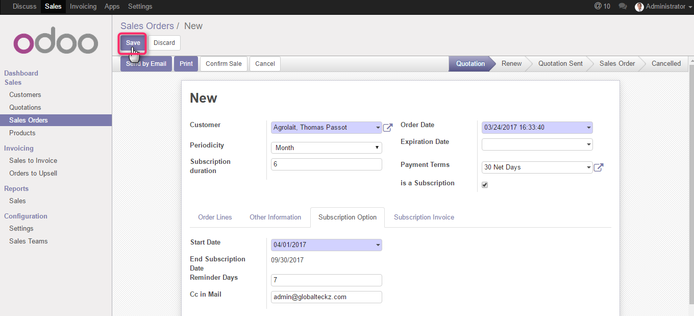 save the subscription in odoo