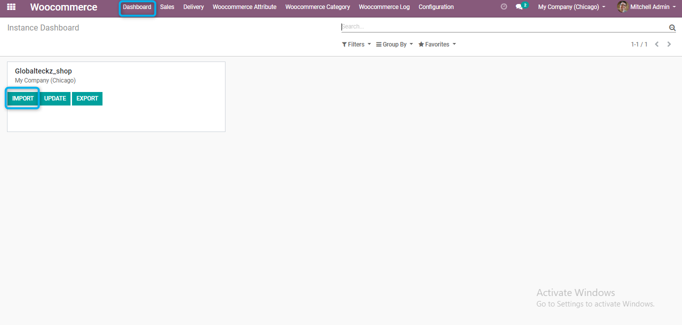 import functions from odoo to woocommerce