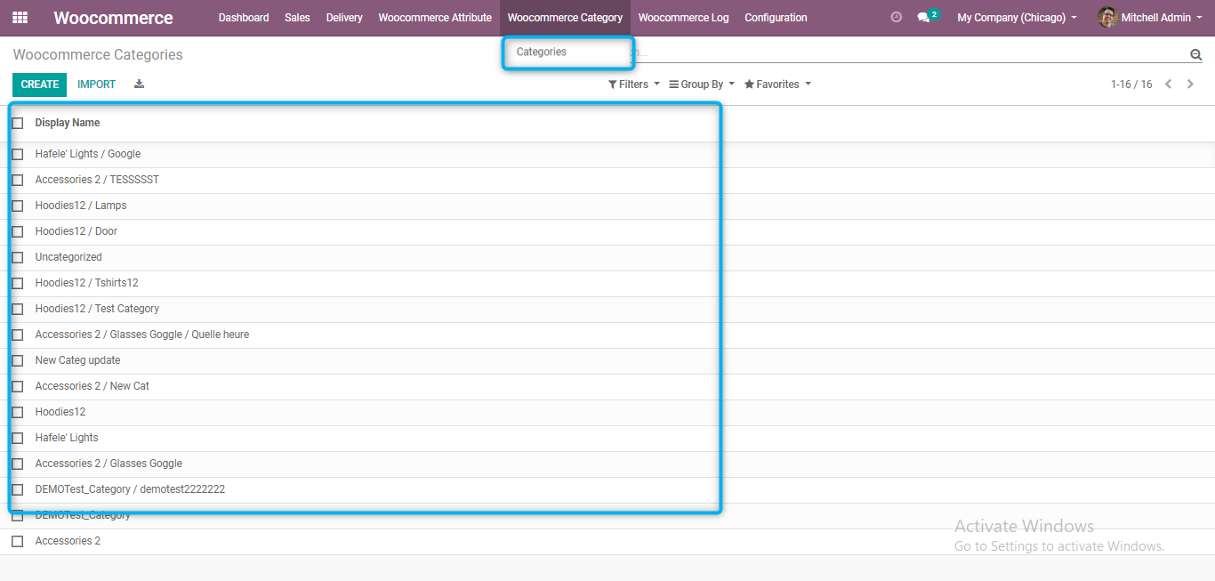 product categories in odoo from woocommerce