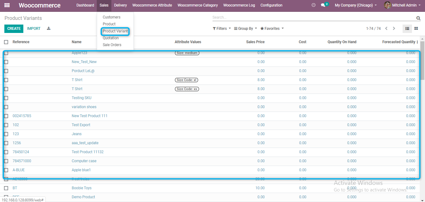 product variants in odoo