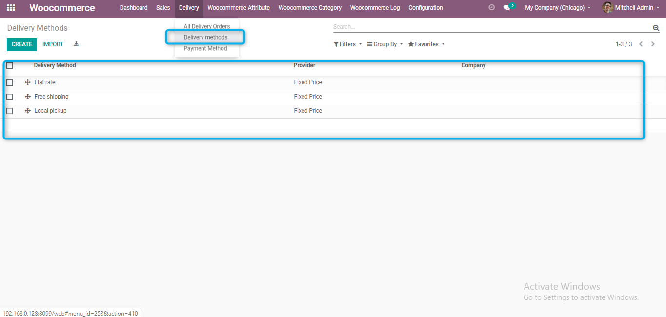 shipping carriers and devliery methods imported from woocommerce to odoo