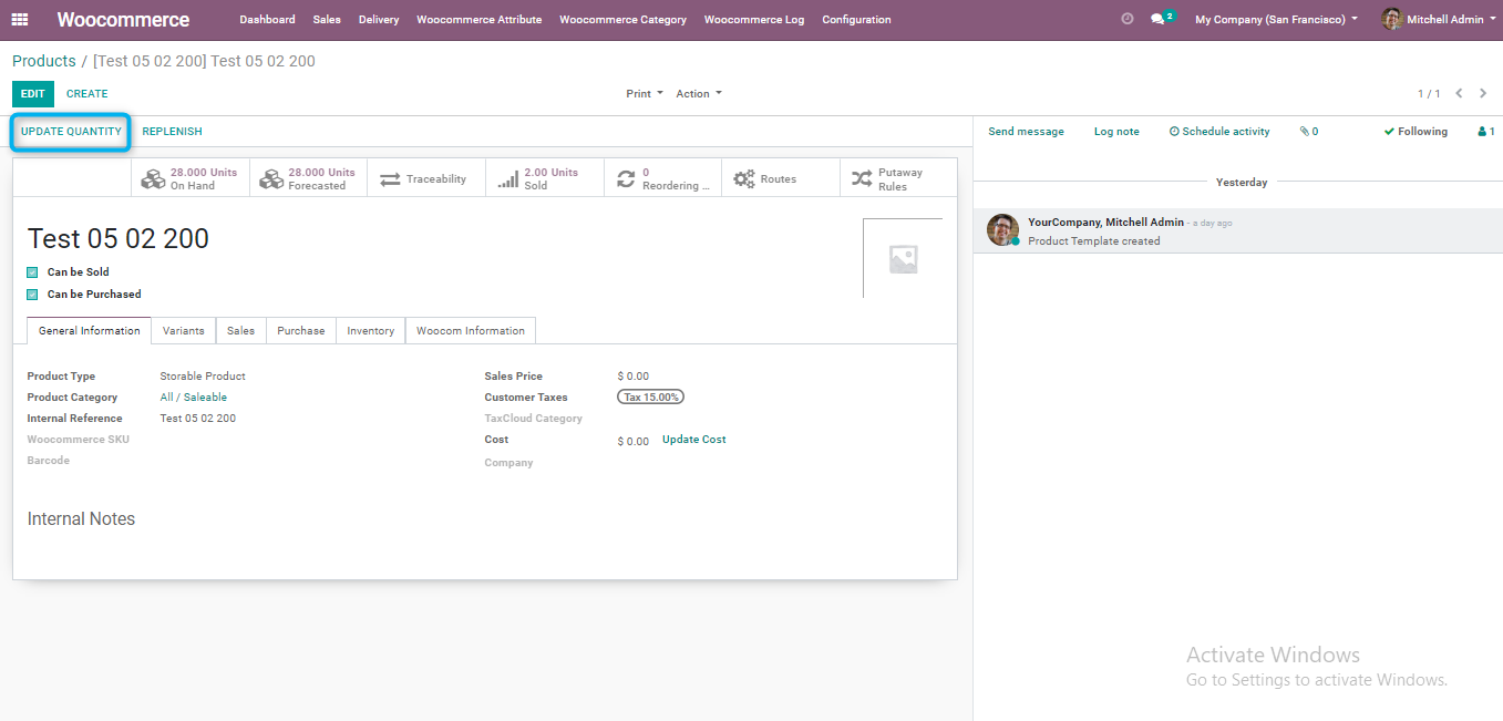 updating the quantity from Odoo