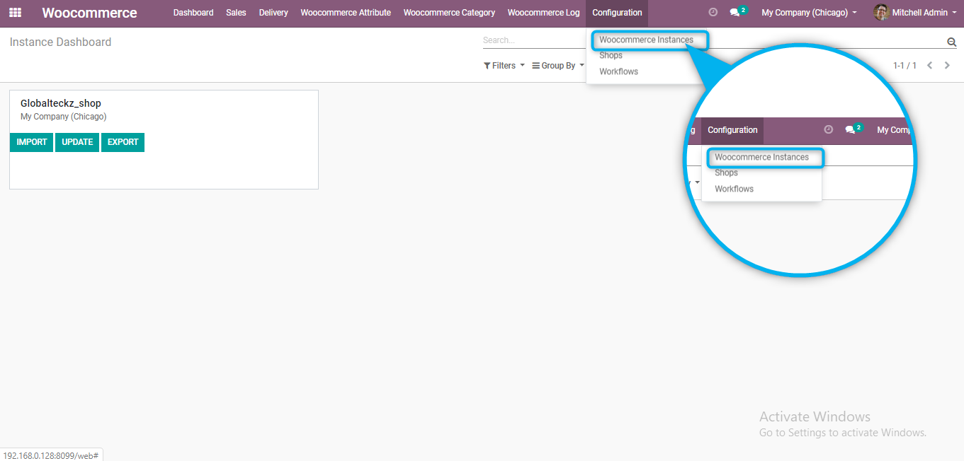 creating woocommerce instance in odoo