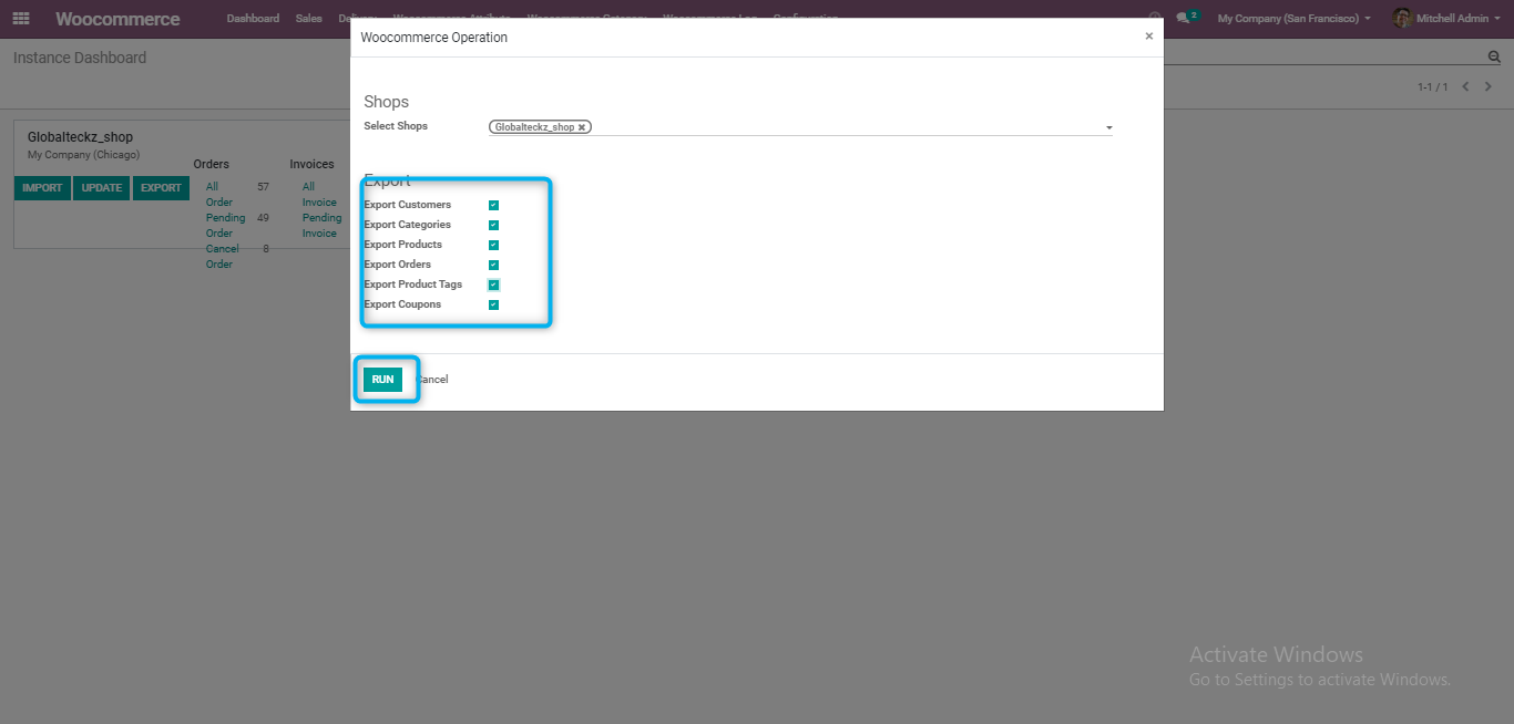 how to export odoo products to woocommerce