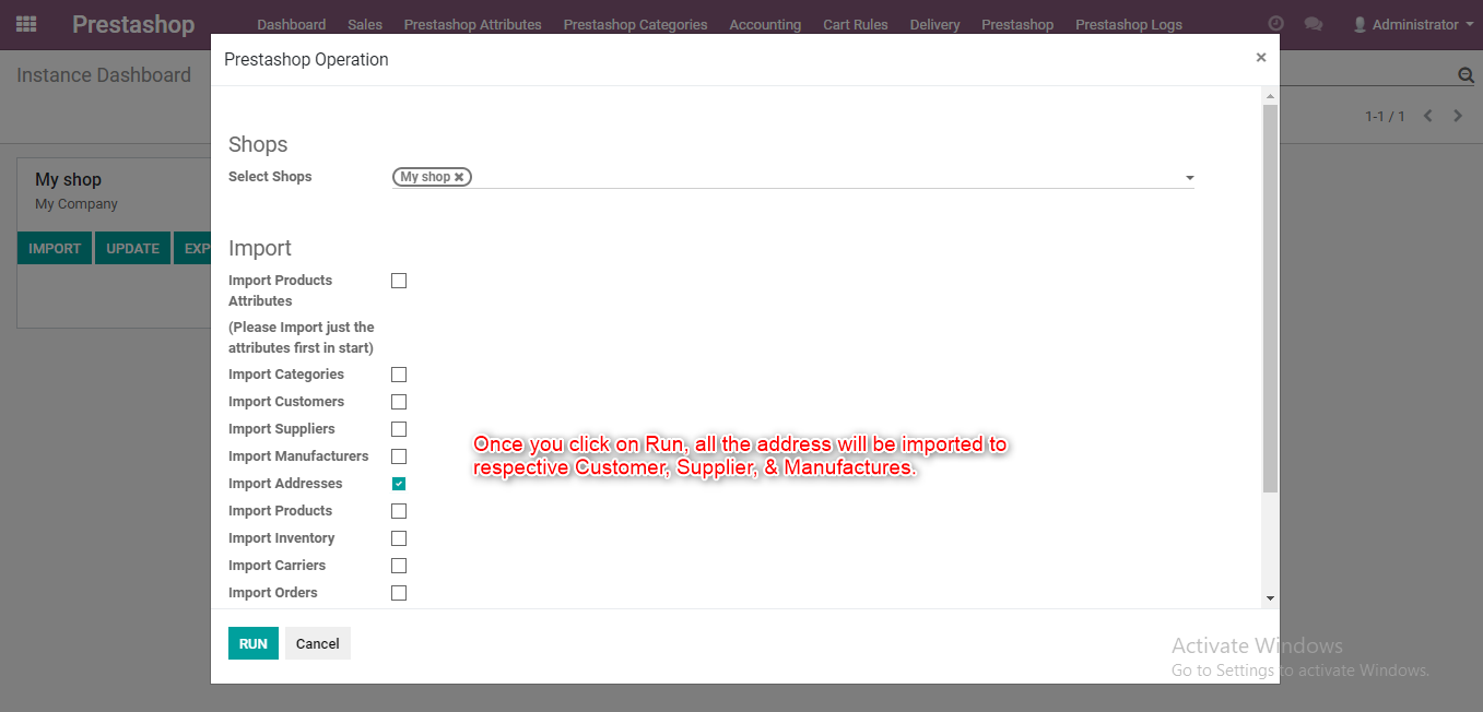 import their addresses into Odoo