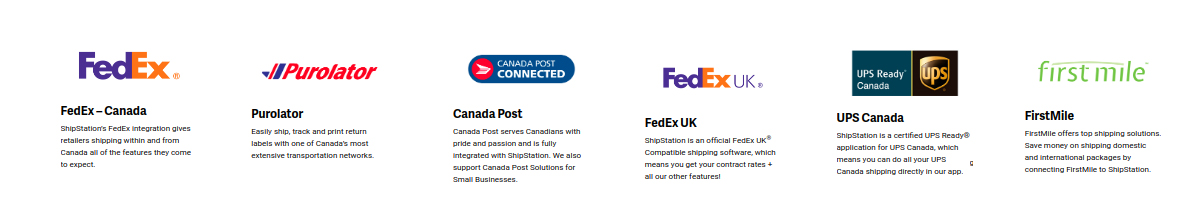 fedex canada, purolator, Canada post, fedes uk, UPS Canada, First Mile, odoo shipstation connector