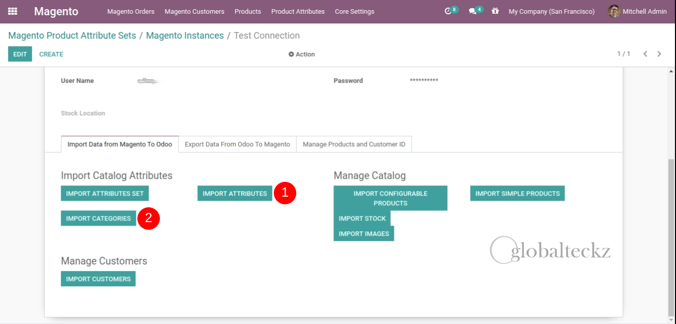 importing categories of magento into odoo