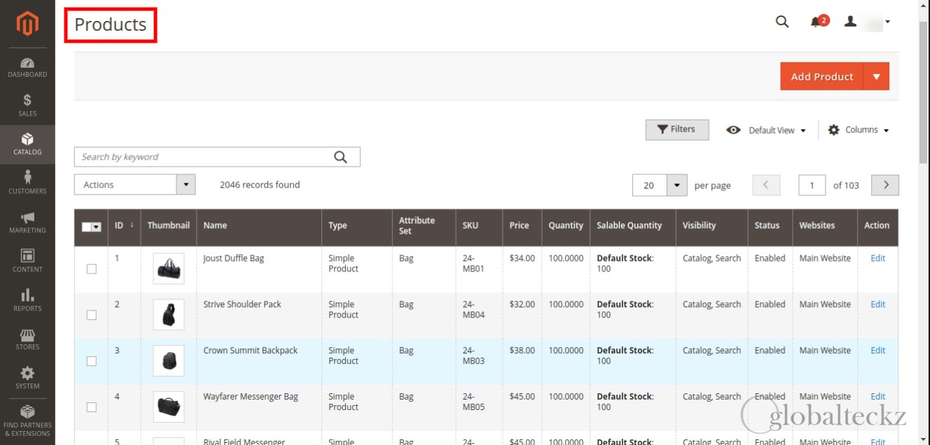 importing of all the products from magento to Odoo