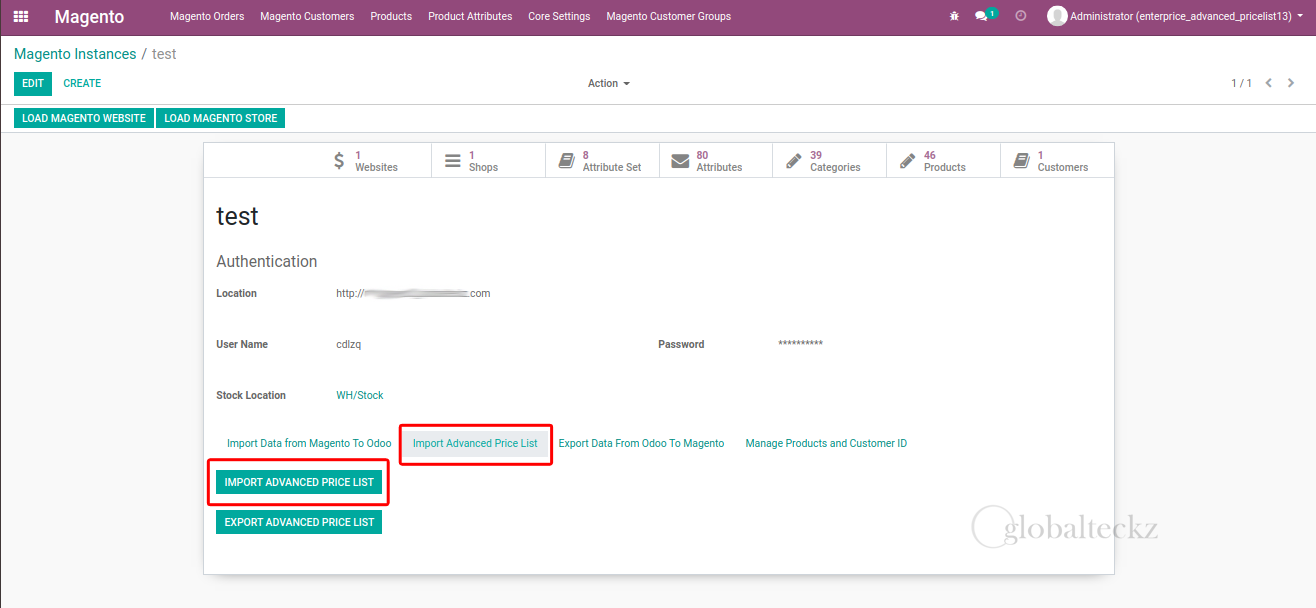 importing the customer pricelist from magento to odoo