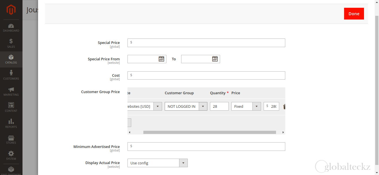 view in magento 2 for customer pricelise