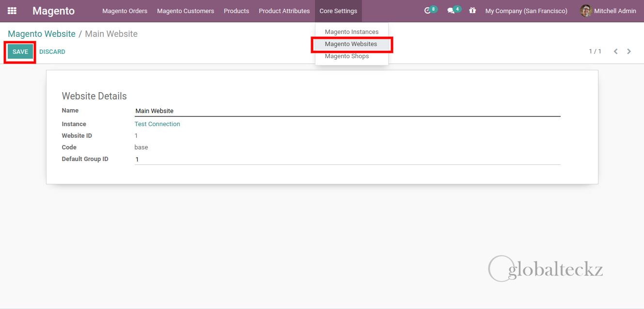 magento website in odoo erp