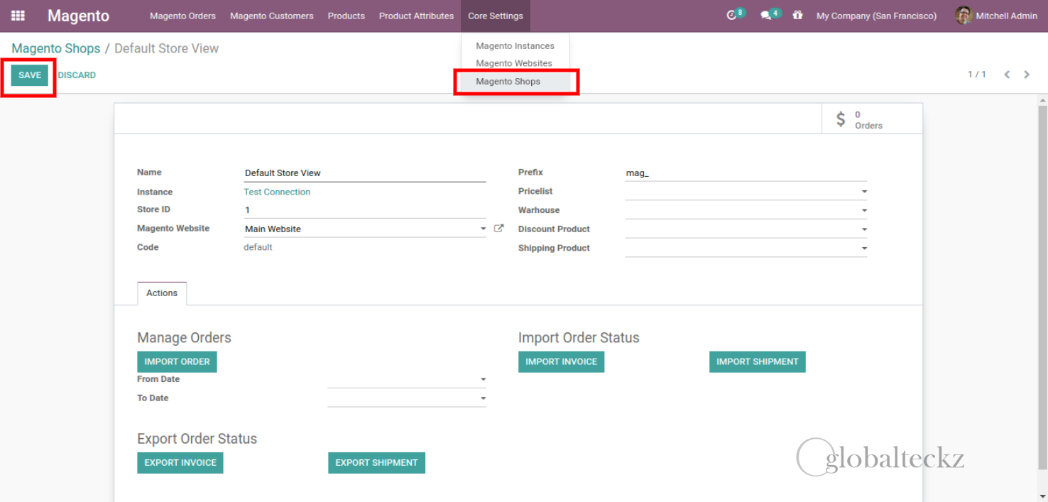 magento 2 Shop created in Odoo ERP software