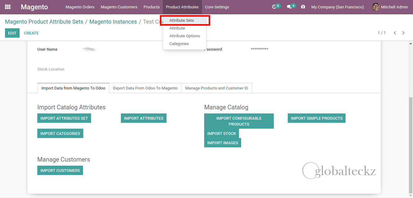 odoo magento 2 attribute sets importing